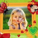 Fotomontaje infantil con bichitos colorados