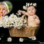 Fotomontaje de Bebé con flores