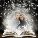 Fotomontaje de libro y estrellas