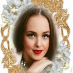 Fotomontaje de marco dorado con flores blancas