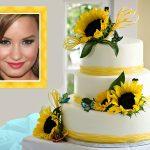 Fotomontaje con pastel amarillo
