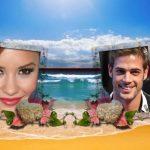 Fotomontaje con paisaje de playa para dos fotos
