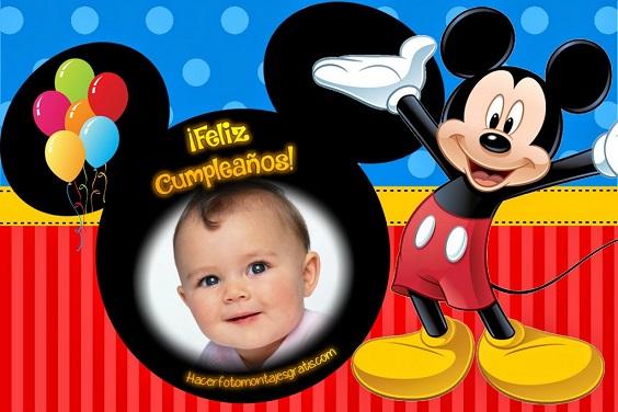 Fotomontaje de Feliz Cumpleaños con Mickey - Imagenes de MIckey cumpleaños - marcos de Mickey con globos cumpleaños- fiesta de Mickey